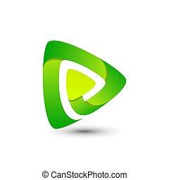 Abstract Gradient Media Play Logo Design Template Premium Vector