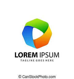 Abstract Gradient Octagon Play Media Logo Design Template Premium Vector