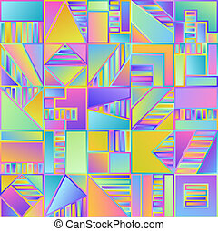 Abstract Gradient Seamless Pattern of Simple Geometric Figures Blue, Lilac, Pink, Violet, Yellow Squares.