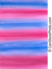 Abstract Gradient Striped Hand-Drawn Watercolor Blue and Pink Background.