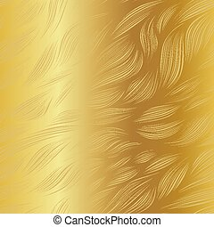 Abstract gradient vector leaf doodle pattern on metallic gold background.