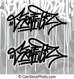 Abstract Graffiti Font Lettering With A Grey Background