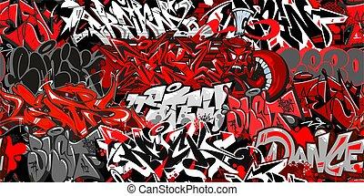 Abstract Graffiti Street Art Seamless Pattern. Vector Illustration Background Art