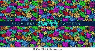 Abstract Graffiti Style Seamless Pattern Vector illustration Background Art