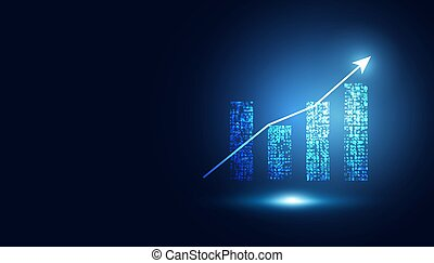 abstract graph chart of stock financial on dark blue background.