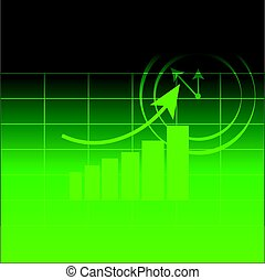 Abstract graph on green background