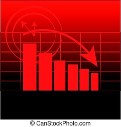 Abstract graph on red background