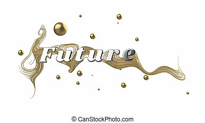 Abstract graphic composition with the word Future. behind ...