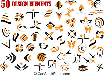 Abstract graphic design elements and symbols