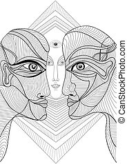 Abstract graphic design with faces - Abstract graphic design...