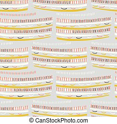Abstract graphic doodle texture seamless pattern. Dots, stripes, sketchy vector illustration