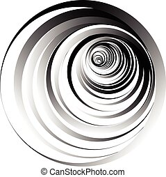 Abstract graphic element with concentric, radial circles