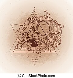 Abstract graphic eye decorated with storm waves. Sacred...