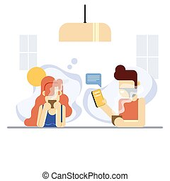 abstract graphic flat character people sipping coffee at bar...