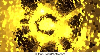 Abstract graphics background with golden cubes on a sphere. 3d rendering