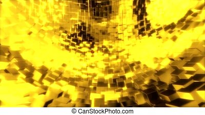 Abstract graphics background with golden cubes on a sphere....