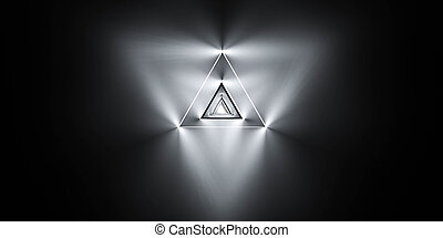 Abstract graphics with triangular glowing pattern. Abstract modern futuristic space background. 3d render illustration