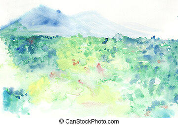 abstract grass field with moutain water colour painted background