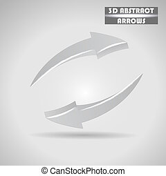 abstract gray arrows 3d vector