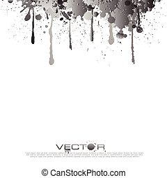 Abstract Gray Color splatter isolated on Black background, vector design