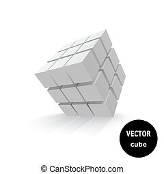 Abstract gray cube. Vector