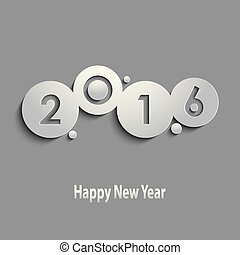 Abstract gray New Years wishes with circles template