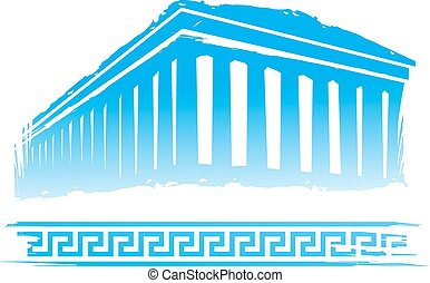 Abstract Greece Design in the Blue, White Background