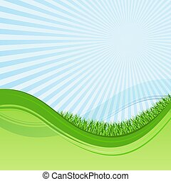 Abstract green and blue wavy background with grass and sunburst.