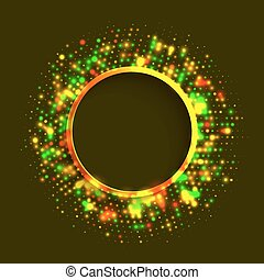 Abstract green and gold round frame