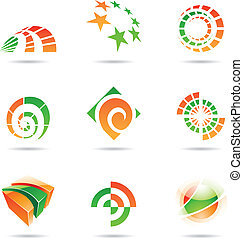 Abstract green and orange Icon Set 19