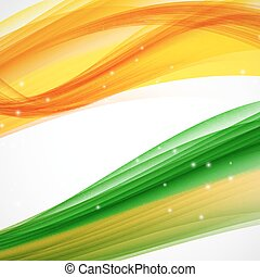 Abstract Green and Orange Wave on White Background. Vector Illus