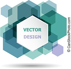 Abstract green and purple hexagon banner background template