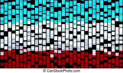 Abstract green and red and white cubes