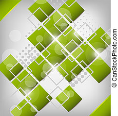 Abstract green background squares