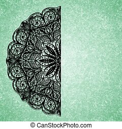 Abstract green background with black lacy mandala pattern. Vector illustration.