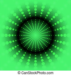 Abstract green background with bright center of the luminous dots of different sizes