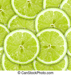 Abstract green background with citrus-fruit of lime slices. ...