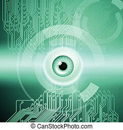 Abstract green background with eye and circuit