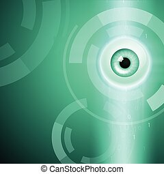 Abstract green background with eye
