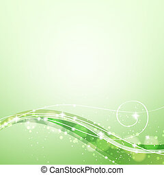 abstract green background with flowing lines and sparkles
