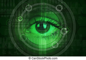 Abstract green background with human eye