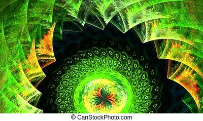 Abstract green background with iridescent spirals.