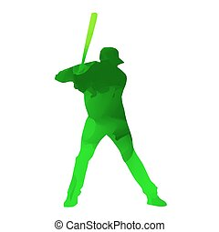 Abstract green baseball player
