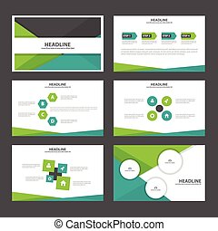 Abstract Green black presentation templates Infographic elements flat design set for brochure flyer leaflet marketing advertising