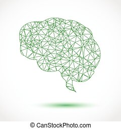 Abstract green brain mesh on white