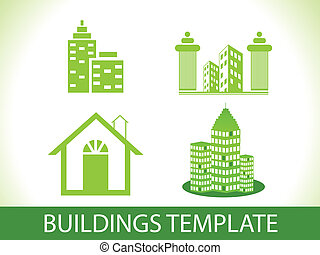 abstract green buildings template