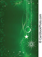 Abstract green Christmas background with ornaments and embellishment