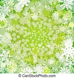 Abstract green christmas background with snowflakes