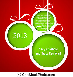 Abstract green Christmas balls cutted from paper on red background. Vector eps10 illustration