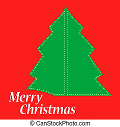 Abstract green christmas tree on red background